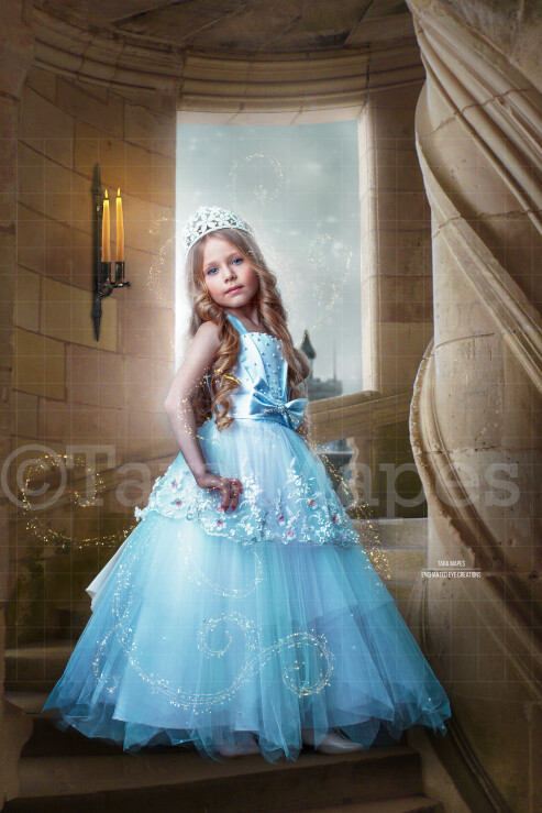 Princess Castle Staircase Bright Night - Castle Stairs - Fairytale Moonlight Castle - Digital Background Backdrop Photoshop