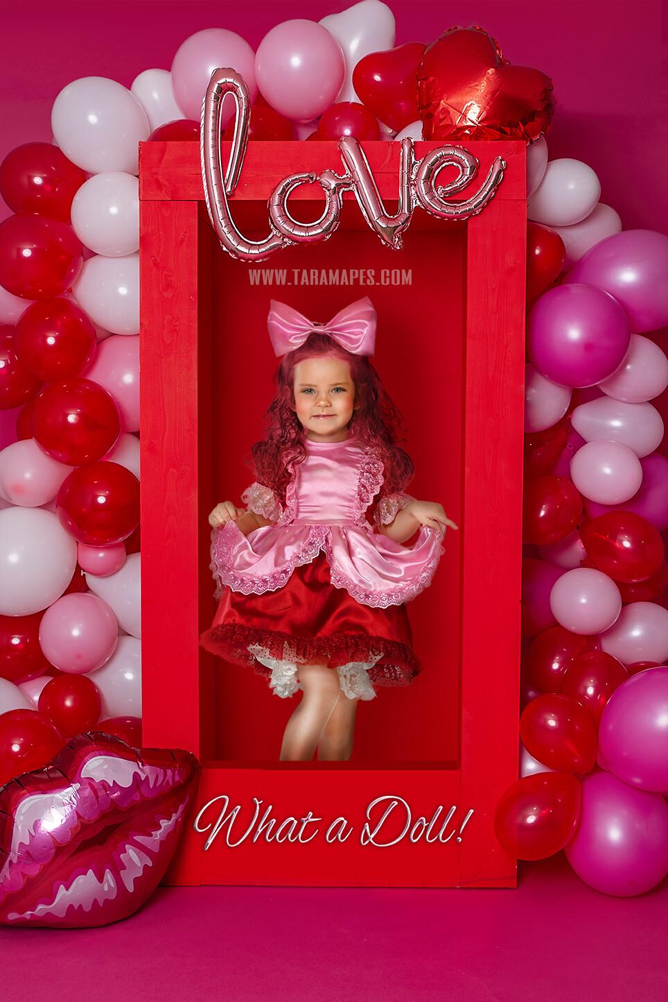 Valentine Doll Box- Valentine Balloons and Box Digital LAYERED PSD - Child Couples Love Anniversary Valentine's Day Digital Background / Backdrop