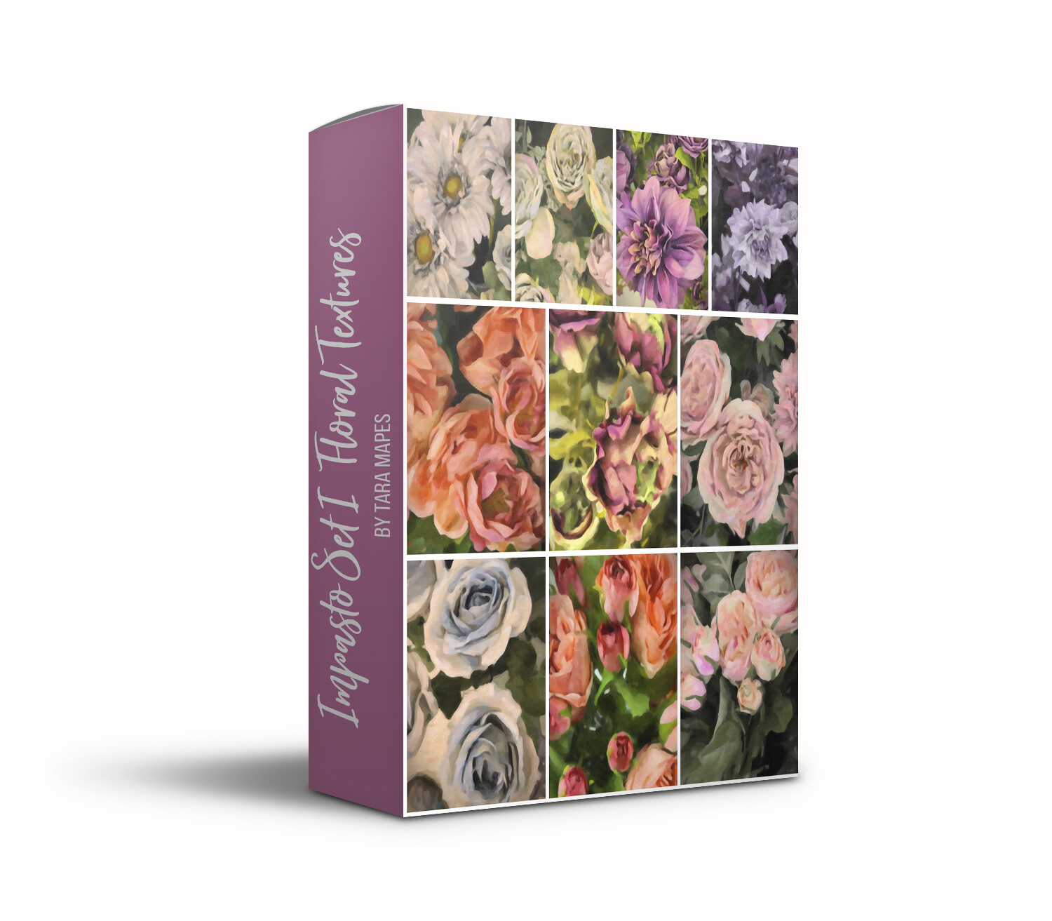 Impasto Set I Floral Collection Fine Art Texture Overlays - 10 Digital Painted Floral Textures -  Photoshop Overlays by Tara Mapes