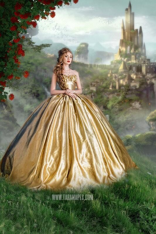 Hill Over Fairytale Castle - Magical Castle - Princess Castle - Digital Background Backdrop JPG FILE