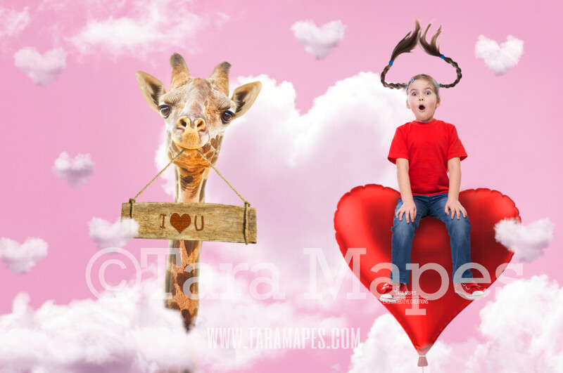 Valentine Giraffe in Clouds JPG by Tara Mapes Digital Background / Backdrop
