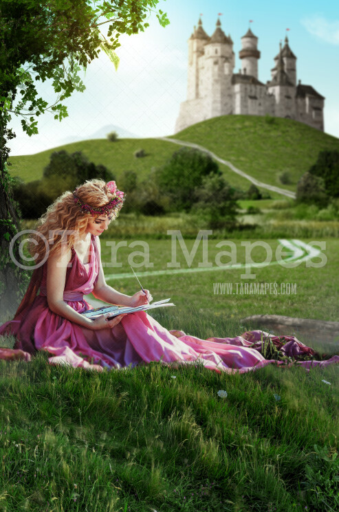 Hill by Fairytale Castle - Magical Castle - Princess Castle - Digital Background Backdrop JPG FILE