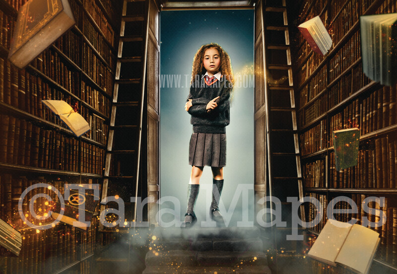 Wizard Library - Magic Library - Floating Books in Wizard Scene - Digital Background / Backdrop