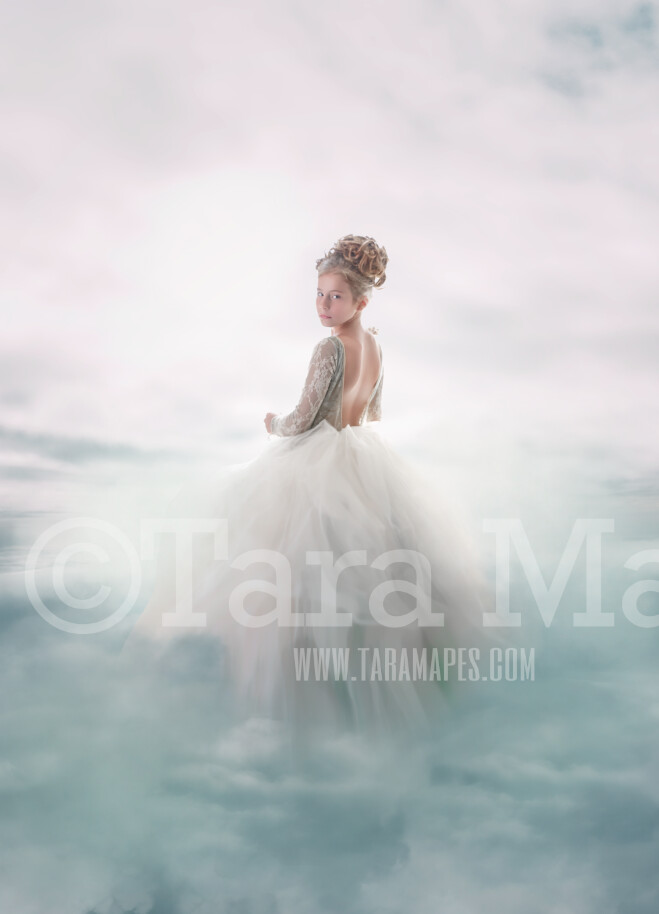 Magical Clouds - Cloud Walker Background - Digital Background Backdrop PHOTOSHOP FILE, Layered PSD