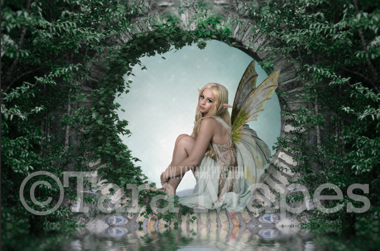 Enchanted Fairy Door - Fairy Arch - Magical Fairy Photoshop Digital Background / Backdrop