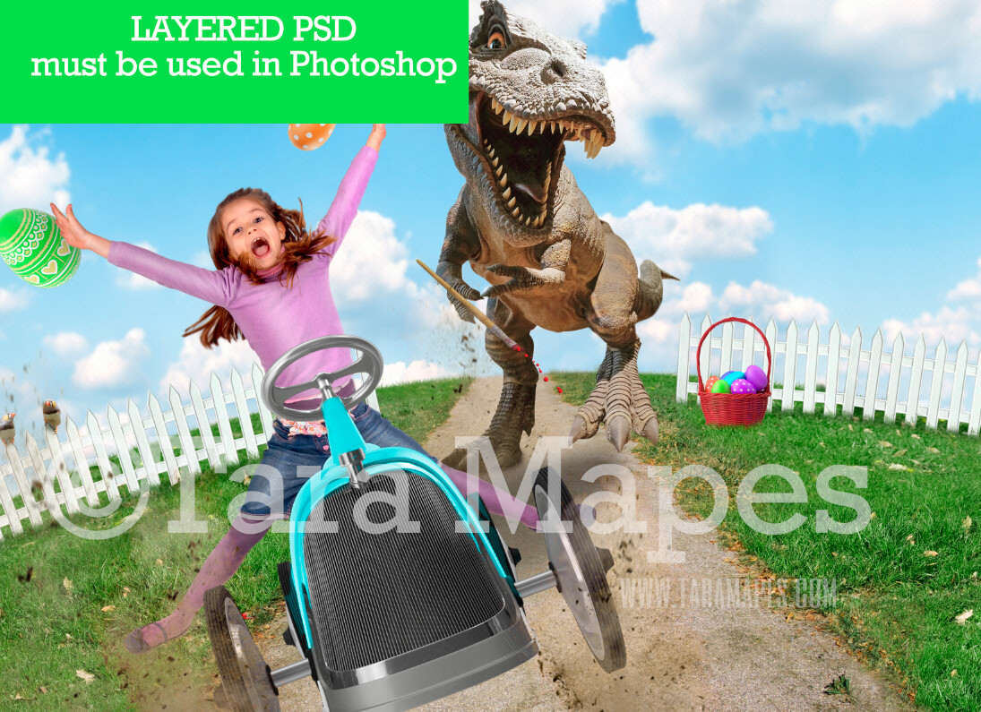 Easter Egg Thief- Dino Chasing Car on a Hill - T-Rex Easter Dino Whimsical Digital Background LAYERED PSD - Tara Mapes