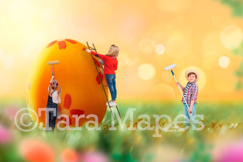 Painting a Big Easter Egg  - Colorful Digital Background / Backdrop