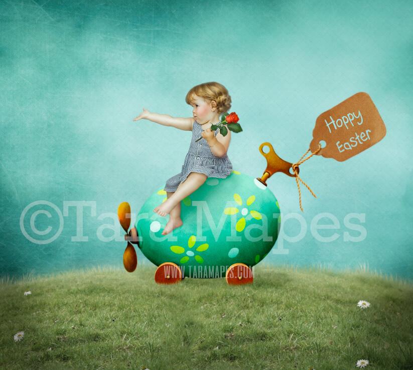 Easter Egg Car- Whimsical Egg - Easter Spring Background - Scrapbook style Easter- JPG Digital Background / Backdrop