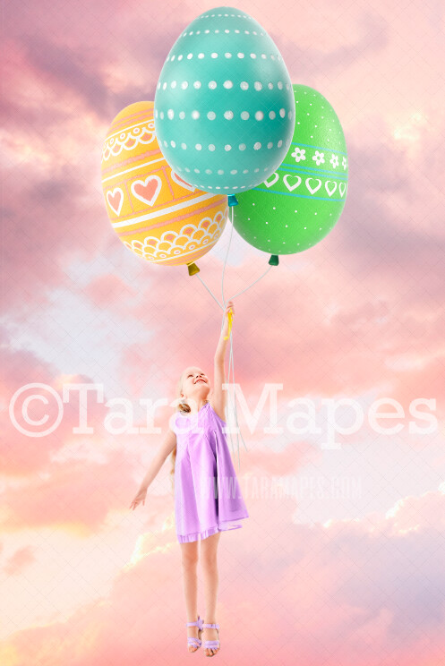 Easter Egg Balloons- Spring Background - Whimsical Easter- JPG Digital Background / Backdrop