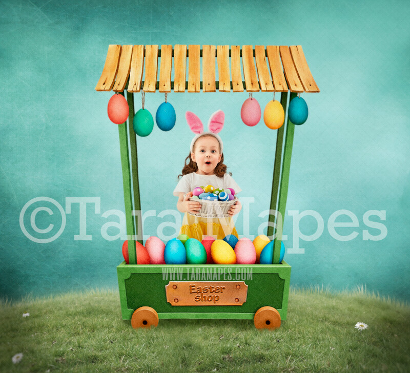 Easter Egg Cart- Colorful Easter Whimsical Digital Background LAYERED PSD - Tara Mapes