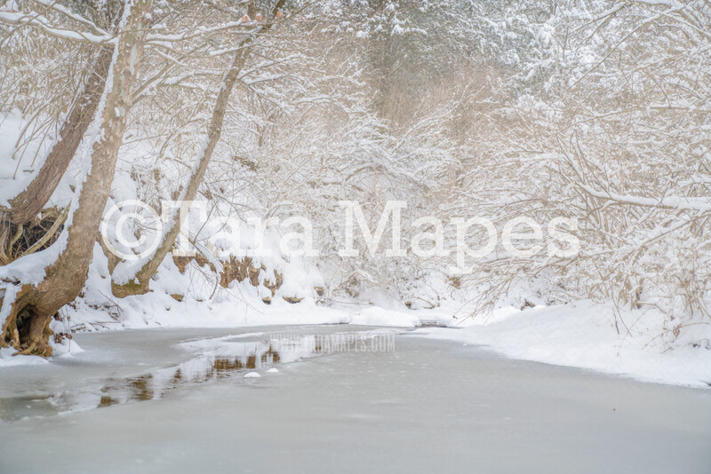 Frozen Creek 3 - Winter Scene- Snowy Scene Digital Background plus FREE SNOW OVERLAY