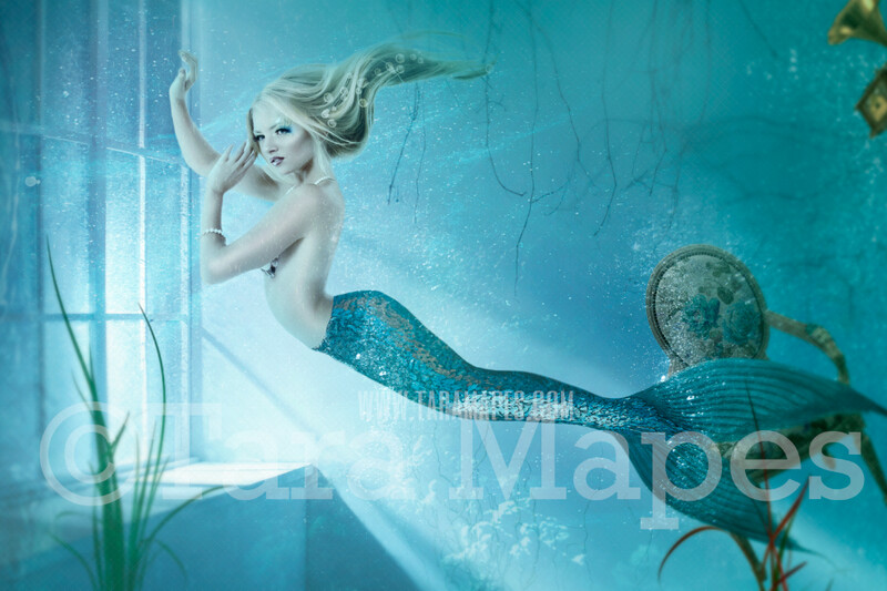 Mermaid Room - Magical Mermaid in Underwater Room - Layered PSD Mermaid Digital Background Backdrop - Separate Element Layers -Tail Layer is Separate