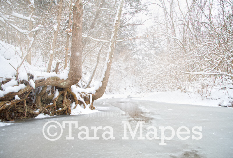 Frozen Creek 1 - Winter Scene- Snowy Scene Digital Background plus FREE SNOW OVERLAY
