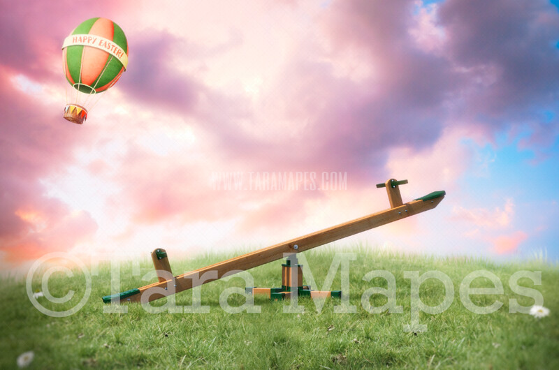 Easter Seesaw- Whimsical Scene with Easter Hot Air Balloon - Teeter Totter- Easter Spring Background -  JPG Digital Background / Backdrop