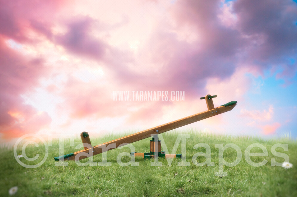 Seesaw on Hill- Whimsical Scene with Beautiful sky - Teeter Totter- Spring Background -  JPG Digital Background / Backdrop