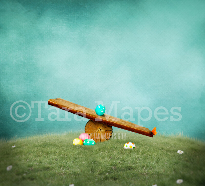Easter Seesaw Scrapbook Style- Whimsical Scene with Easter Eggs and Textured Sky - Teeter Totter- Easter Spring Background -  JPG Digital Background / Backdrop