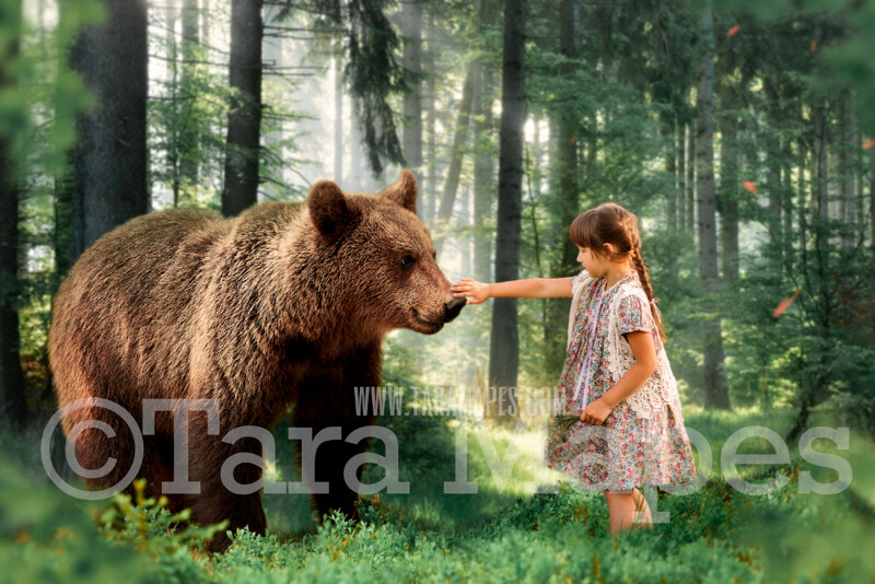 Bear in Forest in the Spring - Creamy Natural Digital Background Backdrop