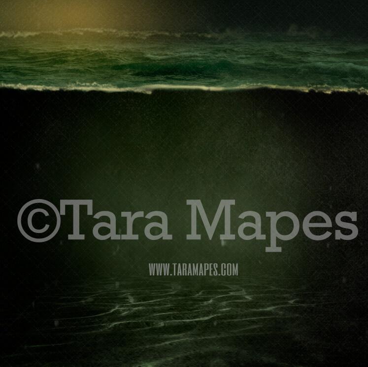 Dark Underwater Scene - Ocean Water Partition - Textured Dark Ocean Scene - Digital Background Backdrop