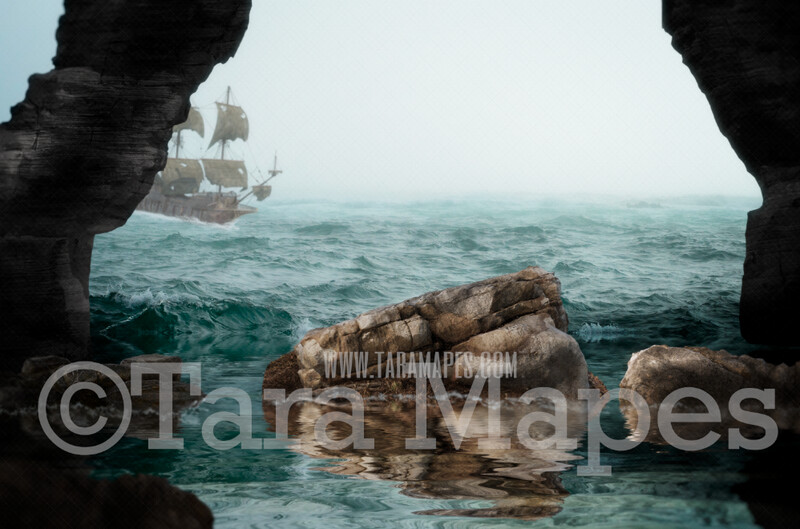 Sea Cave - Stormy Foggy Ocean with Old Pirate Ship - JPG File Digital Background