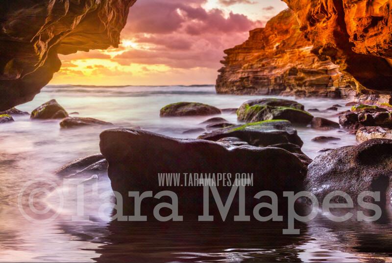 Sea Cave -Mermaid Rock - Beautiful Ocean Sunset - JPG File Digital Background