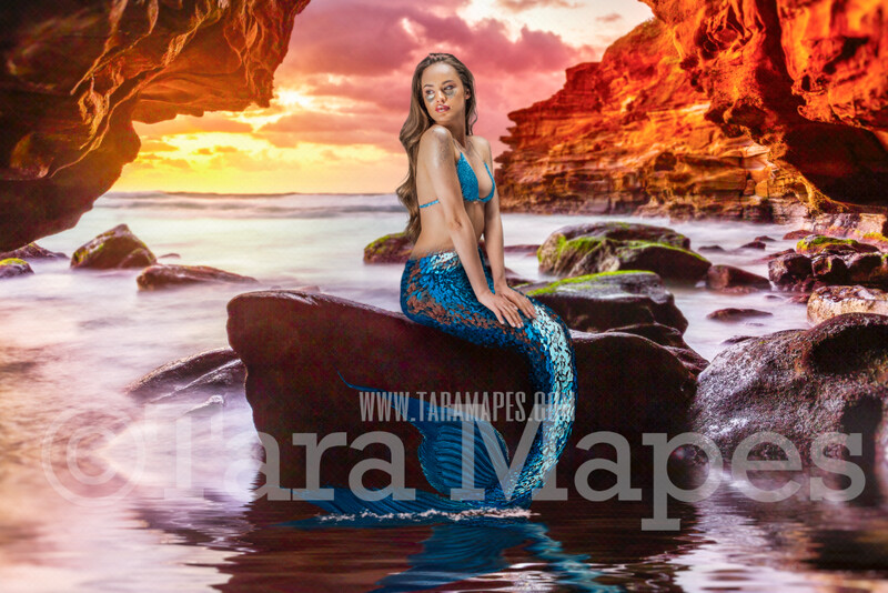 Sea Cave -Mermaid Rock with Mermaid Tail- Stormy Foggy Ocean with Old Pirate Ship - JPG File Digital Background