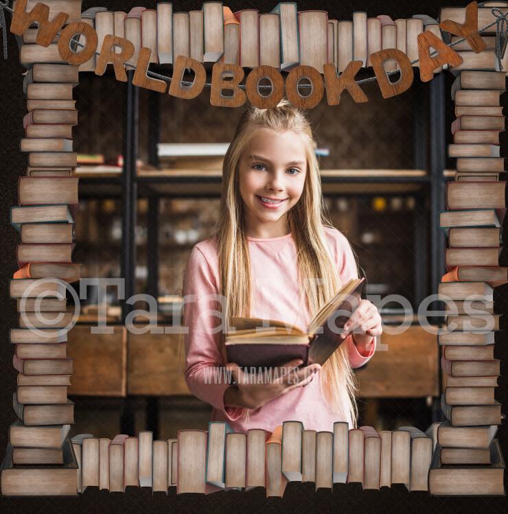 World Book Day Digital Background - World Book Day Frame Photoshop File - Layered PSD  Digital Background Backdrop