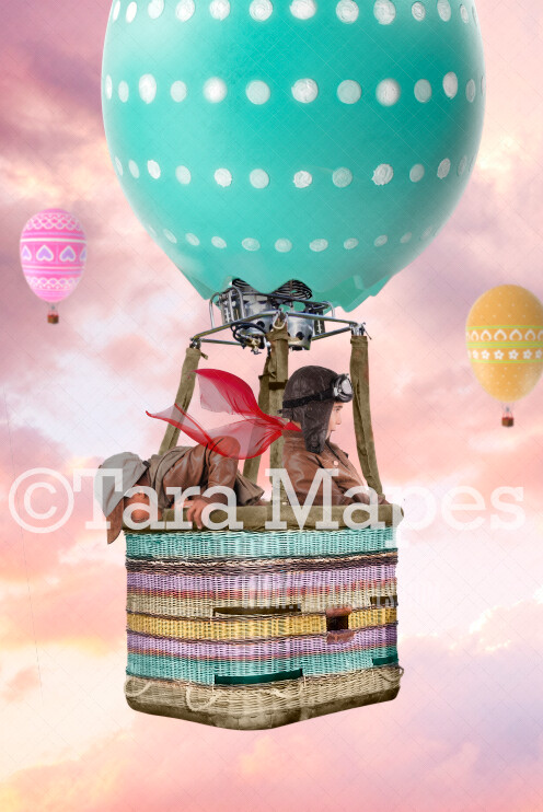 Easter Egg Hot Air Balloon - Easter Spring Background -  JPG Digital Background / Backdrop