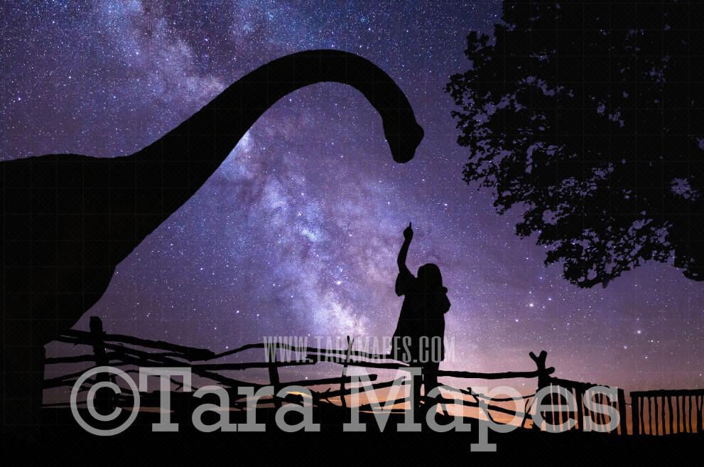 Dino Silhouette Digital- Whimsical Scene with Dinosaur - Background -  JPG Digital Background / Backdrop