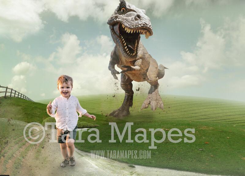 Dinosaur T-Rex Chase on Dirt Road - Funny Digital Background - JPG by Tara Mapes