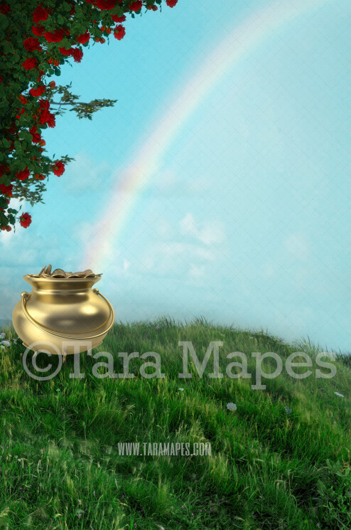 St. Patrick's Day - Gold Pot of Gold - Gold at the End of a Rainbow - Digital Background
