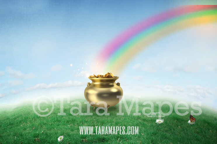 St. Patrick's Day - St Patrick Pot of Gold - Gold at the End of a Rainbow - Digital Background