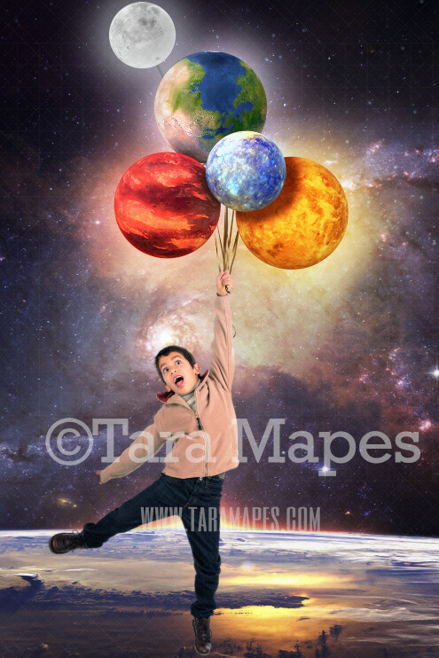 Planet Balloons-Whimsical Space Scene - Space Balloons JPG File-Space - Outerspace- Digital Background Backdrop