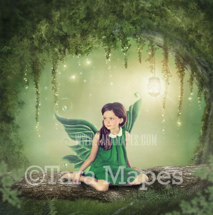 Enchanted Fairy Log- Fairy Arch - Magical Fairy Photoshop Digital Background / Backdrop