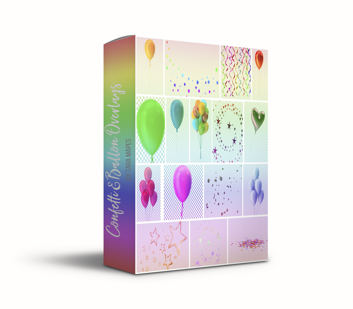 20 Confetti & Balloon Overlays- Confetti Overlays- Balloon Overlays Party Back PNG files with Transparent Background