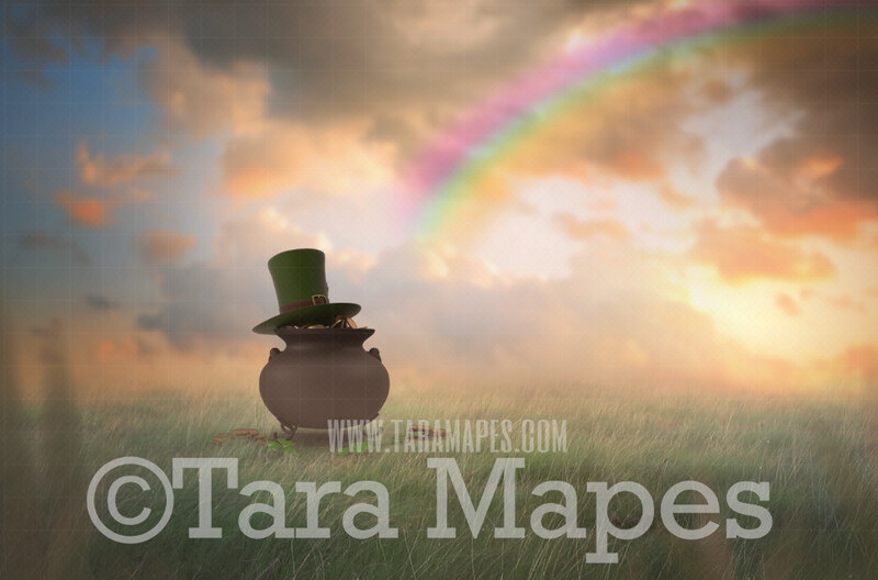 St. Patrick's Day - St Patrick Pot of Gold in Soft Pastel Field- Gold at the End of a Rainbow - Digital Background