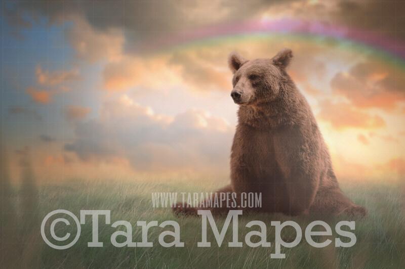 Painterly Bear in Soft Pastel Field- Unicorn in Field with Rainbow - JPG file Digital Background