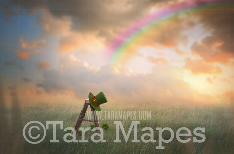 St. Patrick's Day - Saint Patrick Leprechaun Hat on Ladder in Soft Pastel Field- At the End of a Rainbow - Digital Background