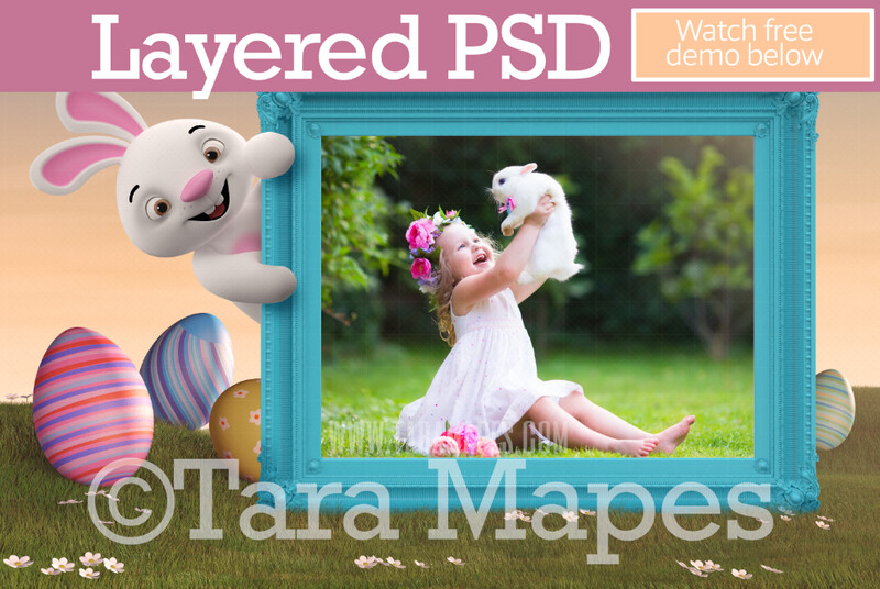 Easter Bunny Frame- Layered PSD Easter Frame with Cute Easter Bunny  Whimsical Digital Background LAYERED Photoshop file - Tara Mapes