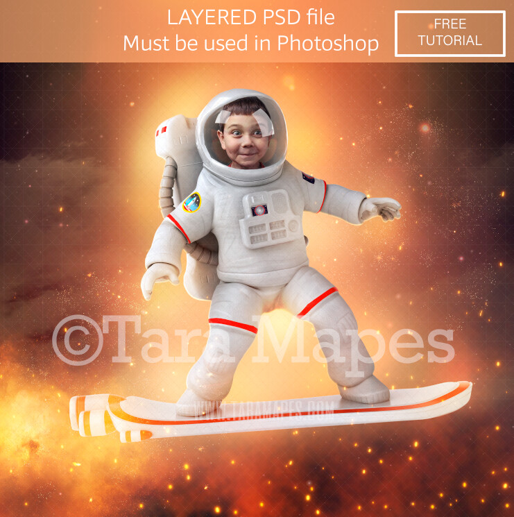 Astronaut Surfer Layered PSD - Astronaut  Digital Background LAYERED Photoshop file - Tara Mapes
