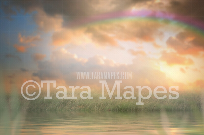 Soft Pastel Field by Lake- Pond in Field with Rainbow - JPG file Creamy Whimsical Digital Background