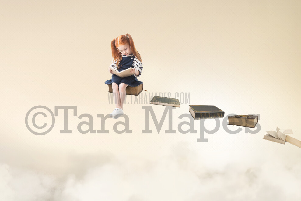 Floating Books- Book Stairs - Floating Books World Book Day - Digital Background / Backdrop