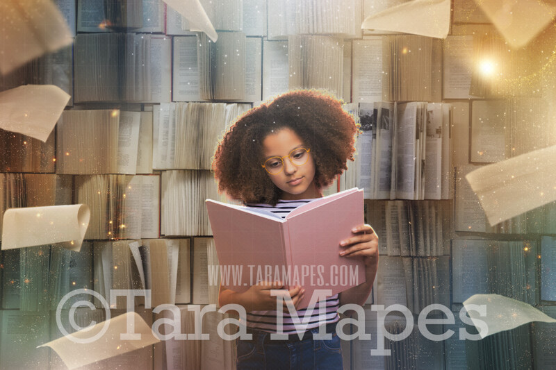 Magical Book Wall - Magical World - Book Lover- Flying Papers in Library World Book Day Book Lover JPG - Digital Background