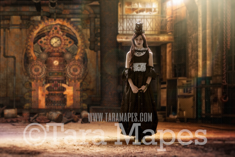 Steampunk Digital Background (JPG FILE)- Abandoned Warehouse with Gear Wall - Grunge Steam Punk Digital Background