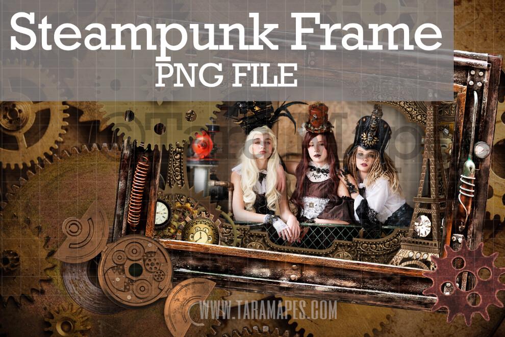 Steampunk Frame with Gears - PNG FILE with Transparent Background- Steam Punk Frame - Grunge Steam Punk Digital Frame Background