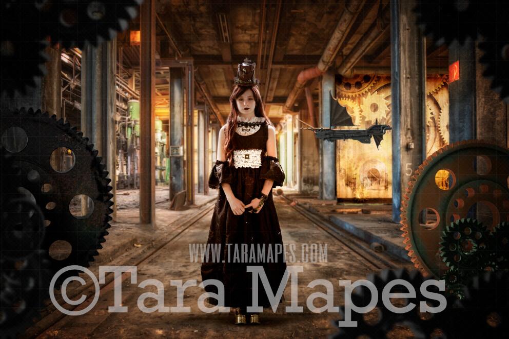 Steampunk Underground Digital Background (JPG FILE)- Abandoned House - Gear Walls - Grunge Steam Punk Digital Background