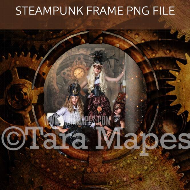 Steampunk Circle Frame with Gears - PNG FILE with Transparent Background- Steam Punk Frame - Grunge Steam Punk Digital Frame Background