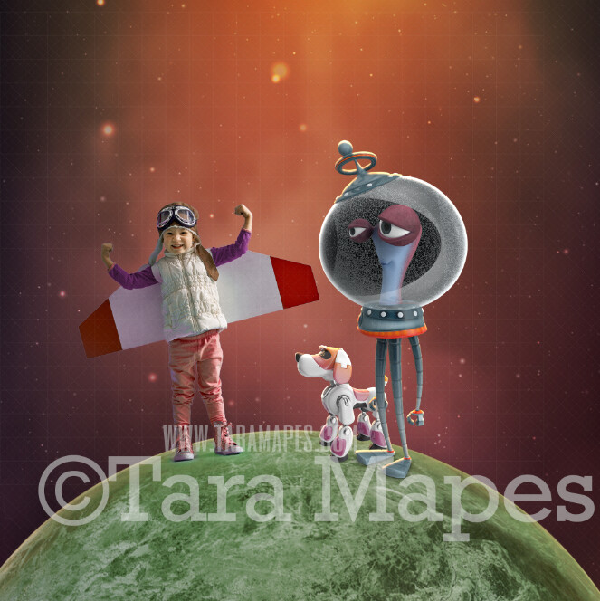 Alien on Planet - Alien with Robot Dog - Outerspace Galaxy Astronaut Space Galaxy Digital Background JPG FILE