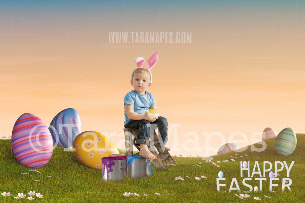 Easter Egg Field with Ladder - Happy Easter Digital Background JPG file  Digital Background / Backdrop