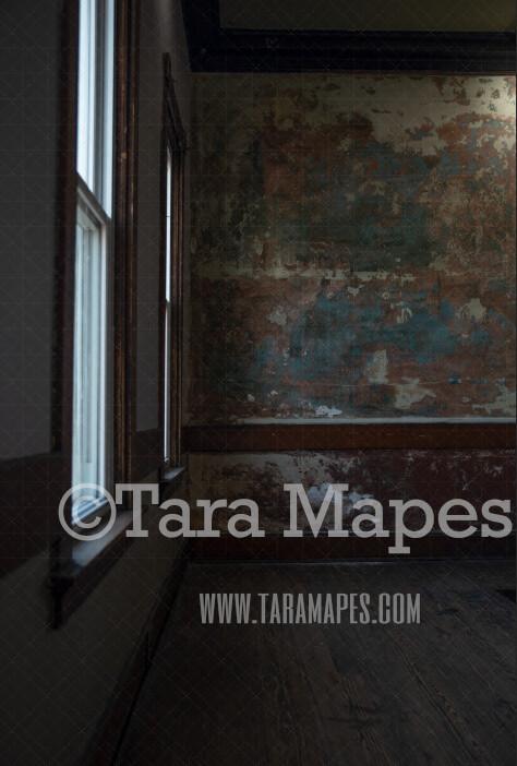 Vintage Room- Big Window Grunge Room JPG file - Photoshop Digital Background / Backdrop