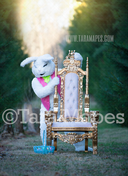 Easter Bunny Peeking from Throne- Easter Rabbit in Enchanted Forest JPG file - Photoshop Digital Background / Backdrop